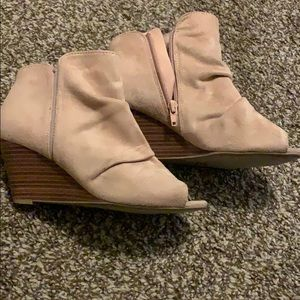 Blush bootie wedges